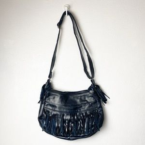 Handbags - Genuine leather dark blue bag with fringe detail